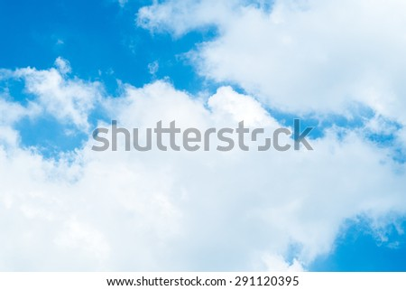 blue sky with white cloud background - stock photo