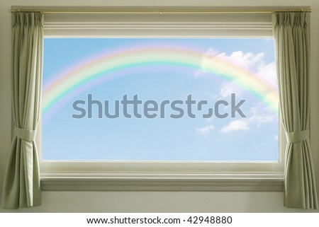 Blue sky with white clouds and a rainbow through the window - stock photo