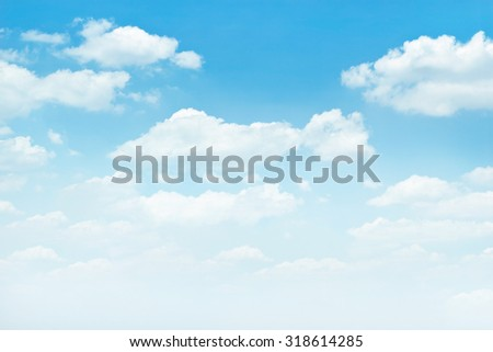 Blue sky with white clouds background - stock photo