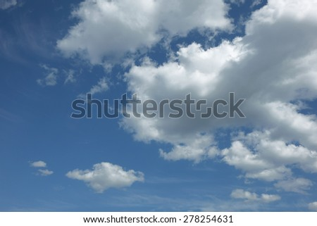 Blue sky with white clouds beautiful clear summer day - stock photo