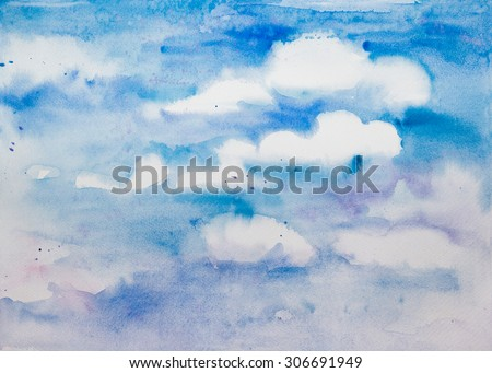 Blue sky with white clouds - hand drawn watercolor background, place your text. - stock photo