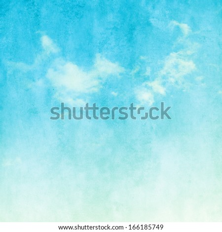 Blue sky with white clouds in grunge style. - stock photo