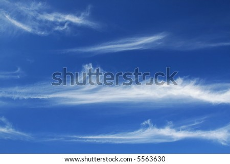 Blue sky with white lines - stock photo