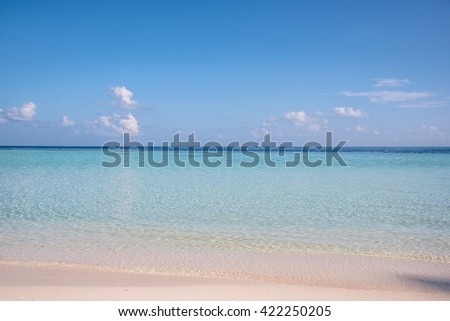 Blue Skyline and Cloud at Maldive, Over India Ocean, Blue sea water surface on sky, The vast blue sky and clouds sky, Sky in soft clouds, Fluffy sky background, Sky cloudy white - stock photo