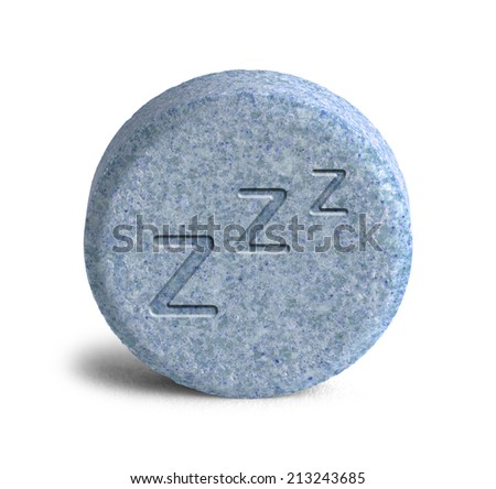 Blue Sleeping Pill with Three Z Isolated on White Background. - stock photo