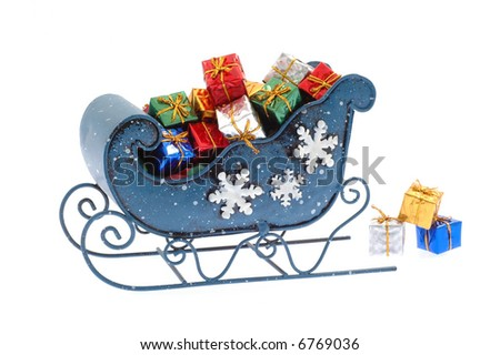 Blue sleigh filled with many colorful presents. - stock photo