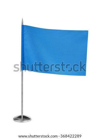Blue small table flag isolated on white - stock photo