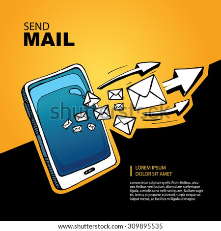 Blue Smart phone and envelope - sms and mail concept picture. Hand drawn series of the flying letters with arrows to right direction. Yellow Background with place for your text - stock photo