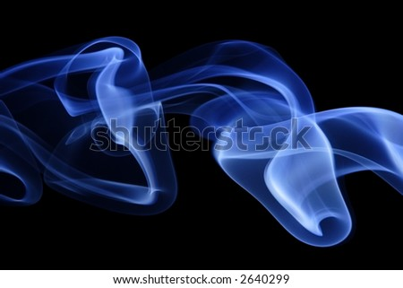 Blue Smoke 7. Abstract curves of blue smoke on a black background. - stock photo