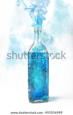 Blue smoke bottle containing witches brew, mana replenishment