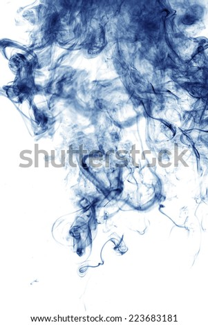Blue smoke isolated on white  - stock photo