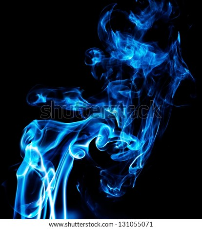 Blue smoke on black.