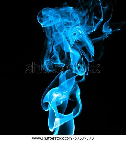 blue smoke on black - stock photo