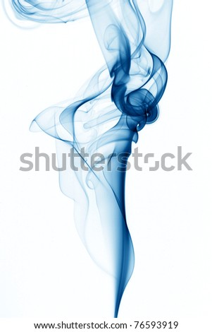 blue smoke on white - stock photo