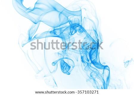 blue smoke on white background - stock photo