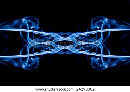 Blue smoke reflection - stock photo