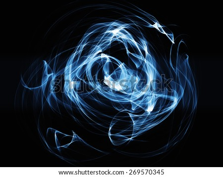 blue smoke waves on  black background glowing abstract background - stock photo