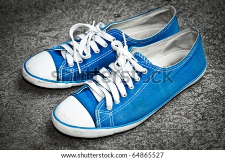 blue sneaker - stock photo