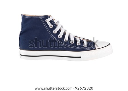 Blue sneaker isolated on white background - stock photo