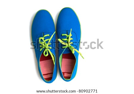 blue sneaker on white background - stock photo