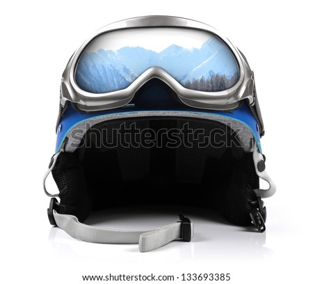 blue snowboard helmet with goggles - stock photo