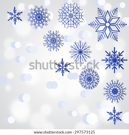Blue Snowflakes In The Corners .  - stock photo