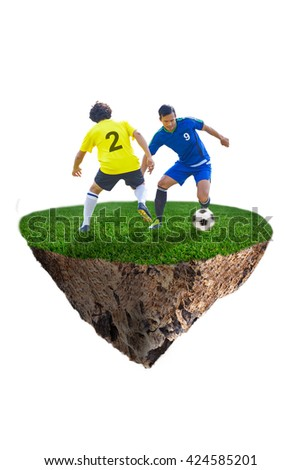 blue soccer player dribbling past yellow opponents on field isolate on white clipping path - stock photo