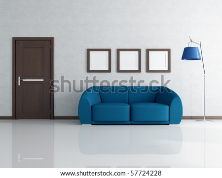 blue sofa in living room with wooden door and frame - rendering - stock photo