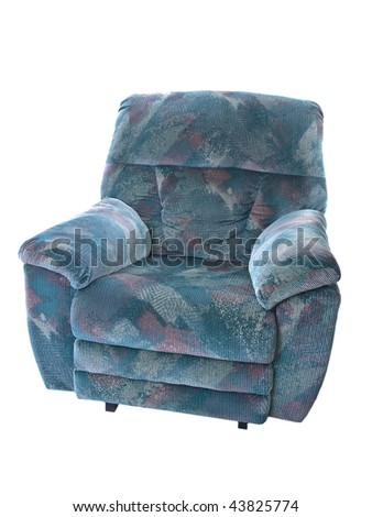 Blue sofa isolated on pure white background - stock photo