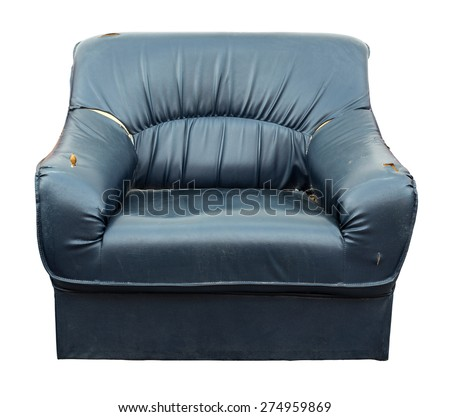 Blue sofa torn isolated on white background with clipping path, concept : The sofa was damaged were left by the wayside as businesses fail worthless. - stock photo