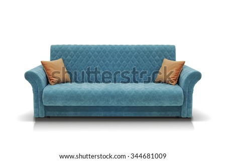 Blue sofa with two orange pillows isolated on white background - stock photo