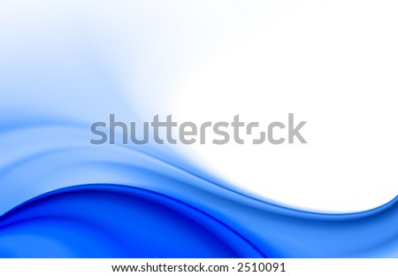 blue soft color wave abstract background with white space for text, suitable for brochures, flyers, cards design - stock photo