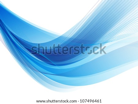Blue soft wavy background. Raster version - stock photo