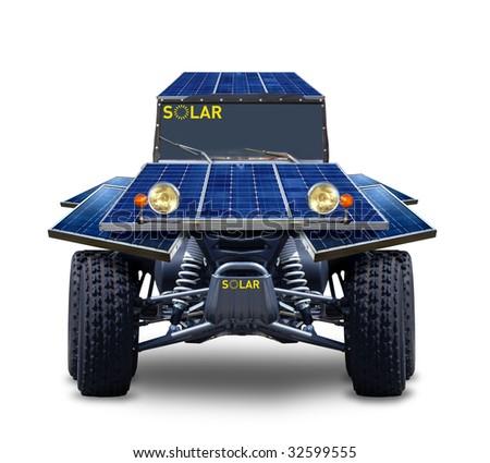 blue solar car - stock photo