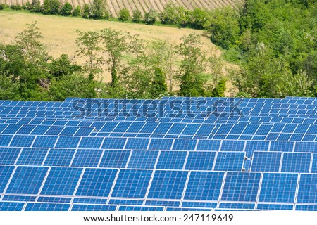 Blue Solar Energy Panels - Green Energy System - stock photo