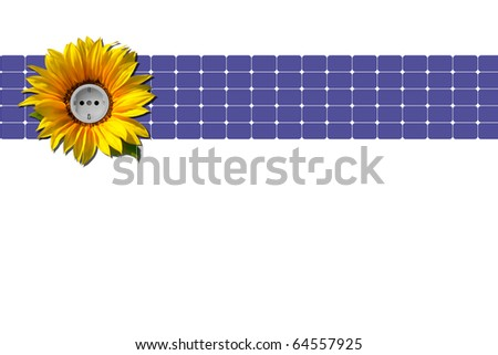Blue solar panel with sunflower and socket against white background - stock photo