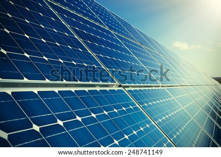 Blue solar panels - stock photo