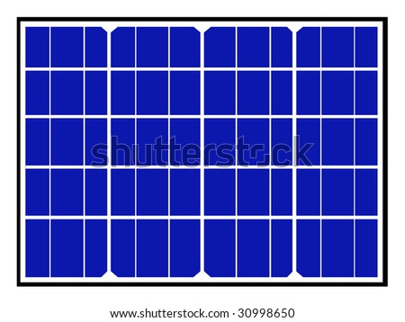 Blue solar panels and cells isolated on white background, illustration. - stock photo