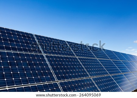 Blue solar panels and clear sky background