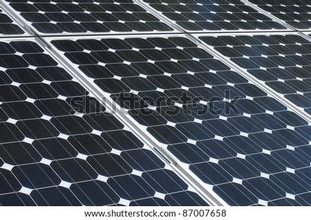 Blue solar Panels. Closeup background - stock photo