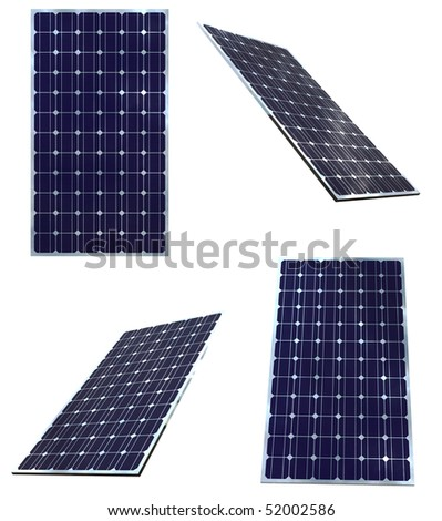 Blue solar panels in different positions  isolated on white background - stock photo