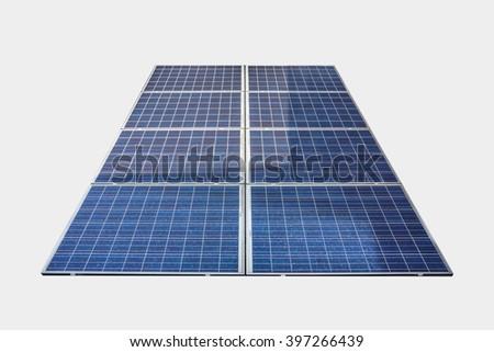 Blue solar panels isolated on white background - stock photo