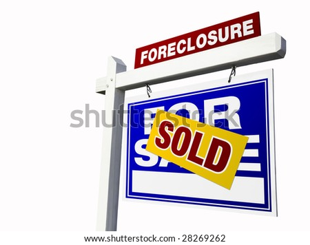 Blue Sold Foreclosure Real Estate Sign Isolated on White. - stock photo