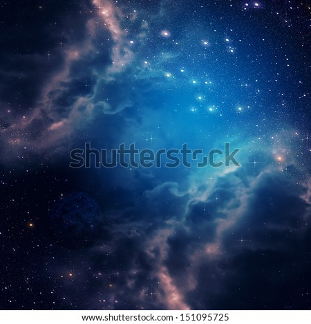Blue space background with clouds and stars.