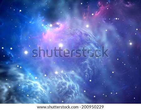 Blue space nebula - stock photo