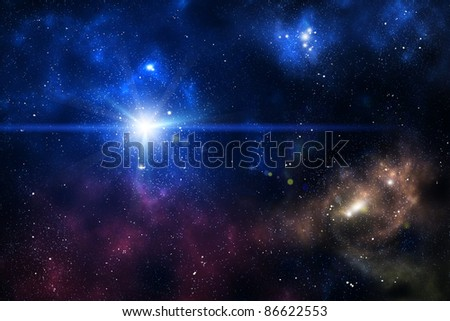 Blue space nebula as abstract background - stock photo