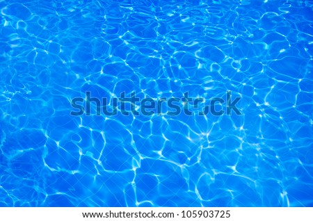 Blue sparkling water in swimming pool