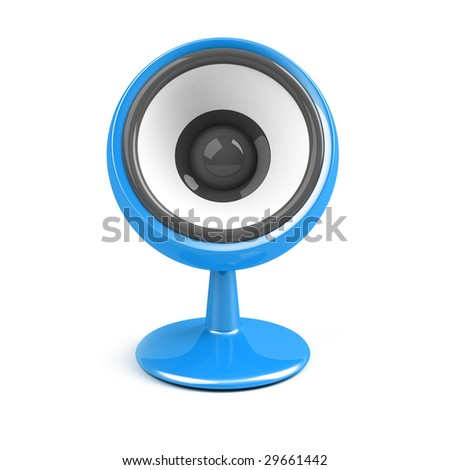 blue speaker on pedestal over white