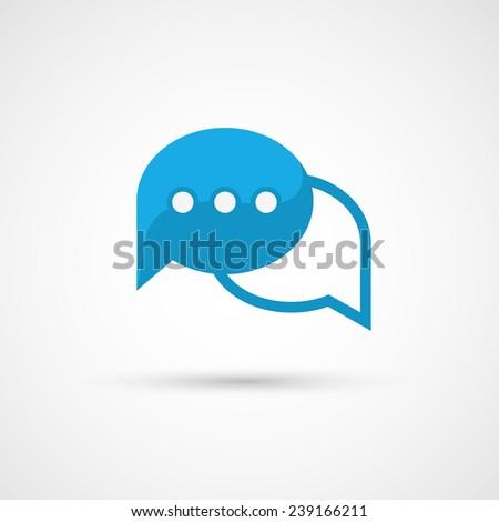 Blue Speech Bubble Icon. - stock photo