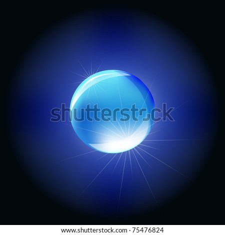 Blue Sphere, Isolated On Black Background - stock photo